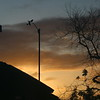 Yellow orange clouds behind anemometer just before dawn