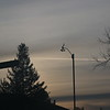 Grey cloud bands behind anemometer at dawn
