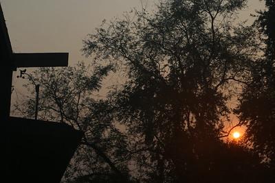 Anemometer after a smoky sunrise