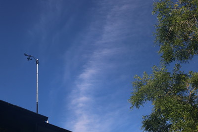Thin afternoon clouds behind anemometer