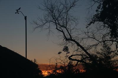Dawn cloud band behind anemometer
