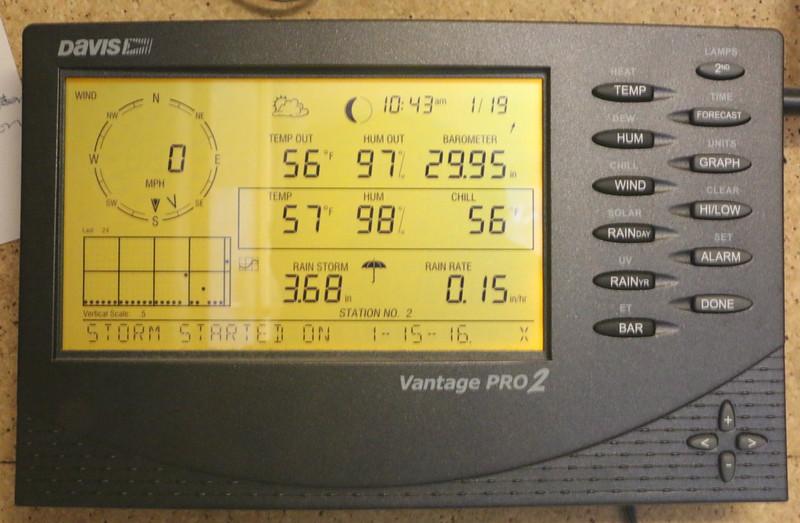 Davis Vantage Pro-2 station console during heavy rain storm of Jan 15-19, 2013