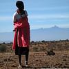 Masai Herder and Mount Kenya.  Laikipia, Kenya.