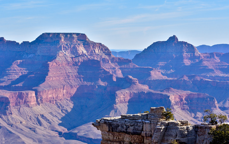 AZ-GCNP2020.1.14#6977.3. Wotans Throne on the left, Vishnu Temple to the right shot from Mather point. Grand Canyon Park Arizona.