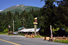 AK-2016.7.18#083.1. The I.R.B.I. Knife shop and his neighbor the wood carver on the Seward Highway above the south end of Kenai Lake on the way to Seward Alaska.