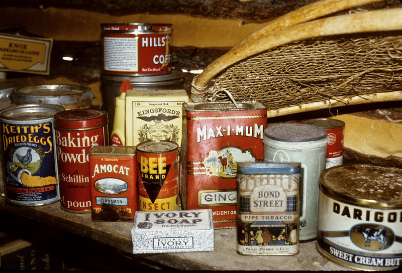 AK-1984.3p#522. Another close up of assorted of Dry Goods. Brooks Range Alaska.