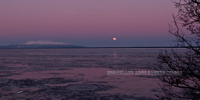"AK-2009.12.31#068. The last few seconds of the ""Long Night's eclipse of the Blue Moon"". The moon has turned almost completely orange but is setting into the ground fog across Cook Inlet to the west of Anchorage Alaska. Mount Susitna is to the left of the moon."