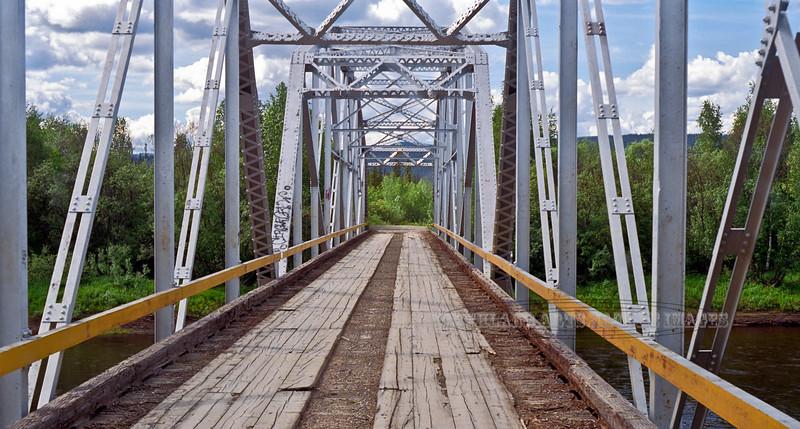 AK-Shw2000.6.21#95.4. A vintage bridge across Birch Creek. Route 6, the Steese Highway Alaska.