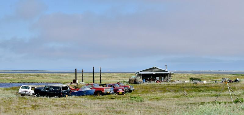 AK-SPss-2015.6.24#119.2. An inupiaq Eskimo fishing camp on Safety Sound along the Nome to Council road. Seward Peninsula.