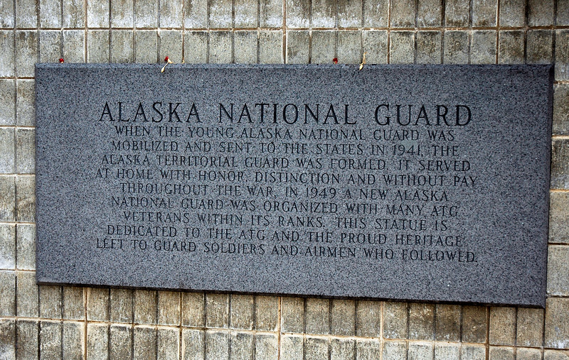 AK-AVM-2007.5.18#0033.2. A close up of the Alaska National Guard Panel in the Alaska Veterans Memorial Grove in Denali State Park. MP 147.2, Route 3 (Parks Highway) Alaska.