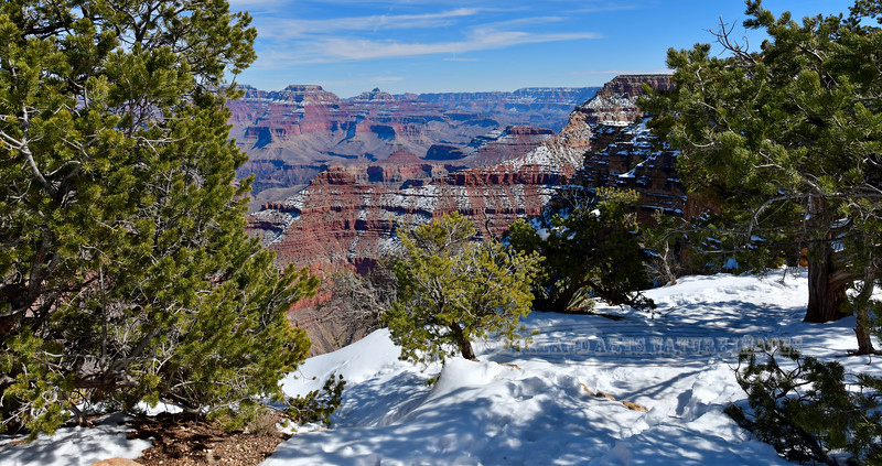 AZ-GCNP2019.2.27#105. View from the south rim of Wotans Throne on the left and Vishnu Temple on the right from near Mather Point. Grand Canyon Park, Arizona.
