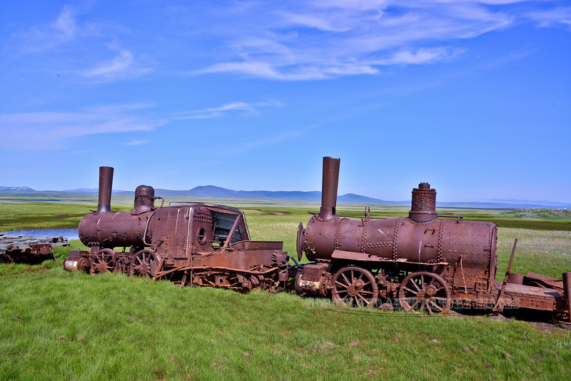 "AK-SPst-2015.6.24#322.3. Commonly known as ""The Last Train to Nowhere"". Viewed from the Nome to Council road between Safety and Solomon. One of the  main attractions people fly tp Nome to see. Seward Peninsula Alaska."