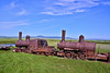 """AK-SPst-2015.6.24#322.3. Commonly known as """"The Last Train to Nowhere"""". Viewed from the Nome to Council road between Safety and Solomon. One of the  main attractions people fly tp Nome to see. Seward Peninsula Alaska."""