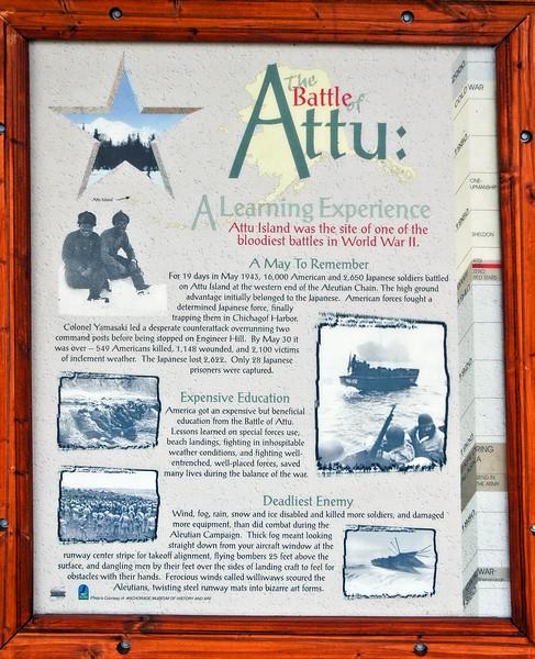 AK-AVM-2007.5.18#0044.2. Interpretive sign for the battle of Attu. Alaska Veterans Memorial Grove in Denali State Park, MP 147.2 Route 3 (Parks Highway) Alaska.