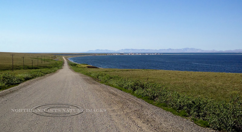 AK-SPt-2015.6.22#120.2. First views of Teller from the Teller road. Brooks Mountain is on the left side beyond Port Clarence. Seward Peninsula Alaska.