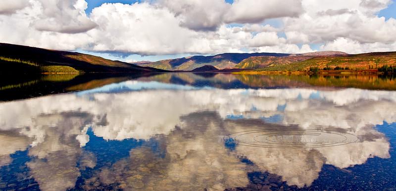 "AK-DNP-2006.9.2#0105. A ""Wonder Lake"" reflection with  brilliant fall color. Looking towards the Kantishna Hills in Denali Park, Alaska."