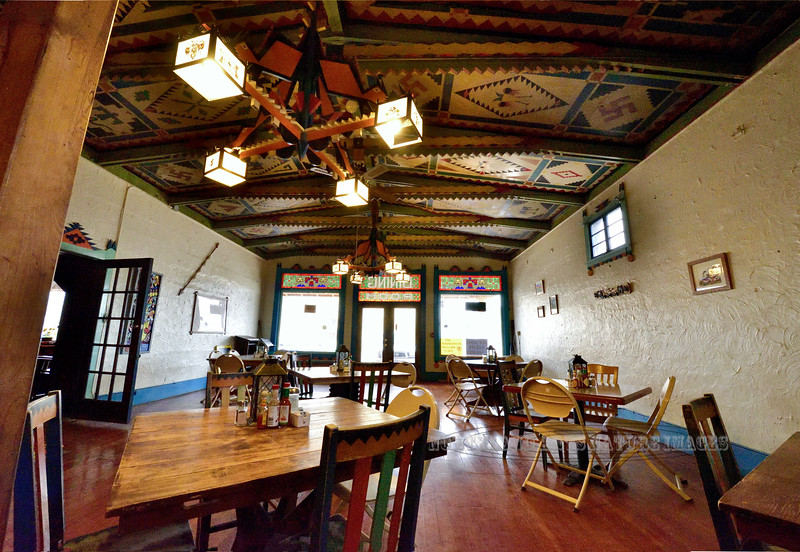 NM-CPS2-2019.11.11#4325.1x. The Folk Art Theme inside the restaurant of the Shaffer Hotel. Mountainair, New Mexico.