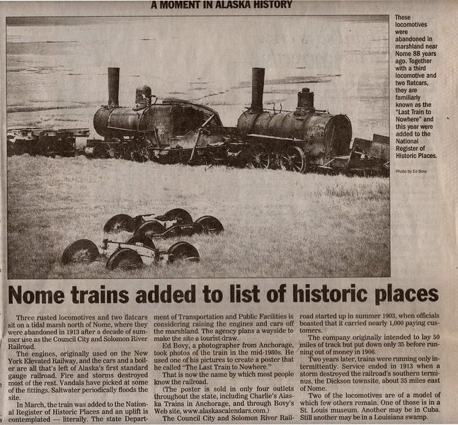 AK-SPst-2001.9.29#368.1. Anchorage Daily News article on the Last Train To Nowhere.