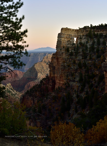 AZ-GCNP2019.10.15#1992.3. Just after sunset looking past Angel's Window from the North Rim of the Grand Canyon over the South Rim to the San Francisco peaks in Arizona.