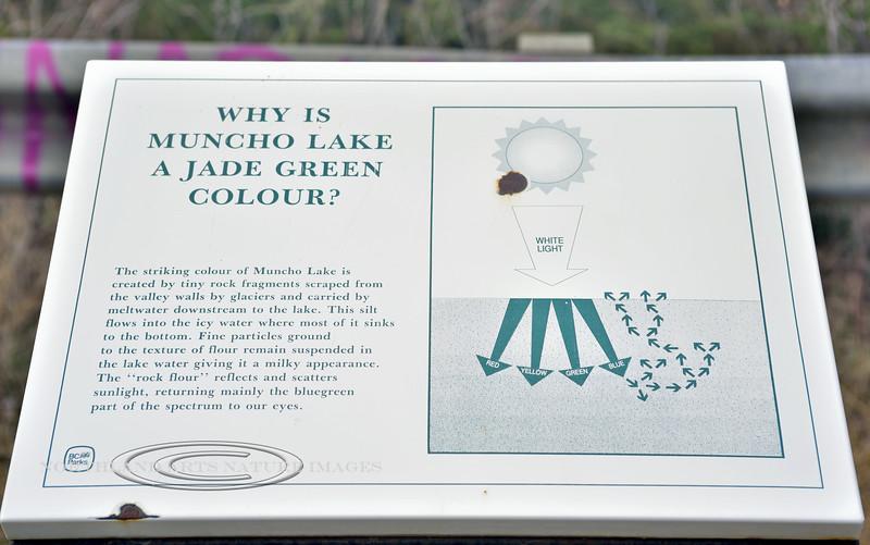 CANBC-2017.5.16#173.2. Interpretive sign explaining the color of Muncho Lake. British Columbia Canada.