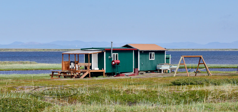 AK-SPss-2015.6.24#124.2. A very nice summer home and fish camp along Safety Sound off the Nome to Council road. Seward Peninsula Alaska.