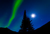AK-2010.9.24#058.3. An Aurora, a starburst Moon and Saturn to the lower right of the moon. Near Healy Alaska.