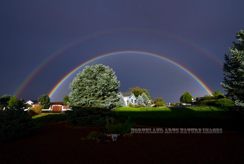 AZ-2018.10.13#001. Amazing Double Rainbow. Captured from my front yard. Prescott Valley Arizona.