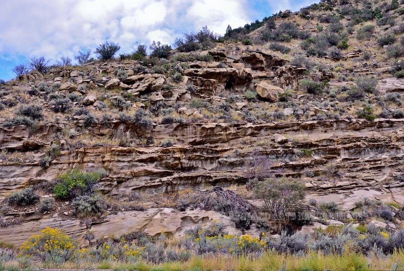 UT-2017.9.15#465. Typical erosion of Southwest Sandstone layers. Route 191, Utah.