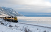 AK-2010.12.9#012.2. A couple of Alaska Railroad engines chuggin up Turnagain Arm south of Anchorage Alaska.