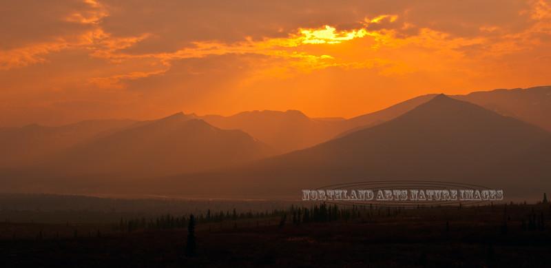 AK-DNP-2011.5.27#009. Fire season in the north country. In this scene smoke is drifting through the Teklanika river valley. Denali Nat. Park Alaska.