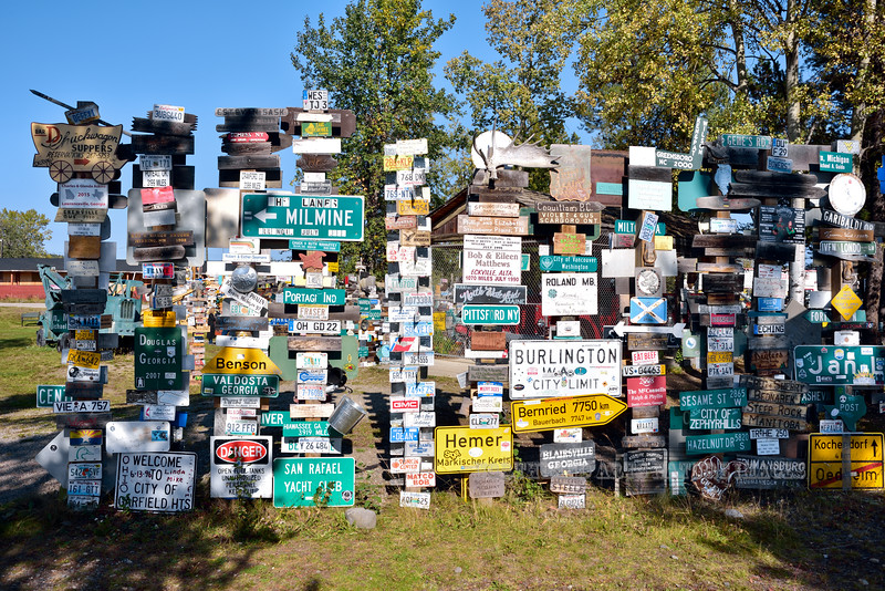 CANYK-WLsp-2017.9.5#148.2. Watson Lake Sign Posts. Look for Sesame St.