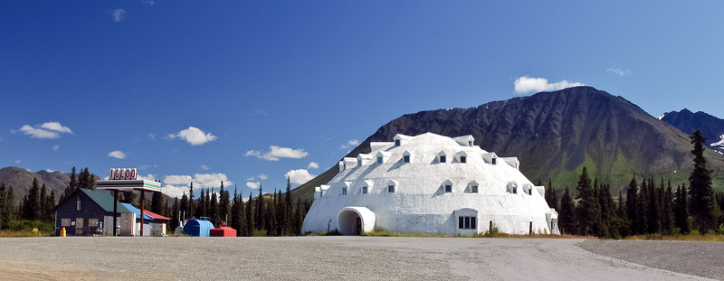"""AK-2007.7.16#217.4XX. Igloo City, milepost 188.7 on the Parks Highway, south of Cantwell Alaska. This is a shot back in the """"Old Days"""" when it was still in good shape. Without a doubt one of the most recognizable landmarks on the whole length of the Parks Highway Alaska."""