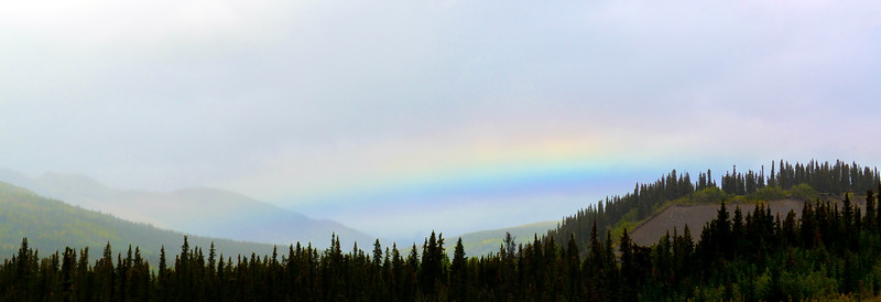 AK-2016.8.23#002.5. A unusual foggy rainbow in the Carlo Creek area I encountered traveling to Denali Park Alaska.