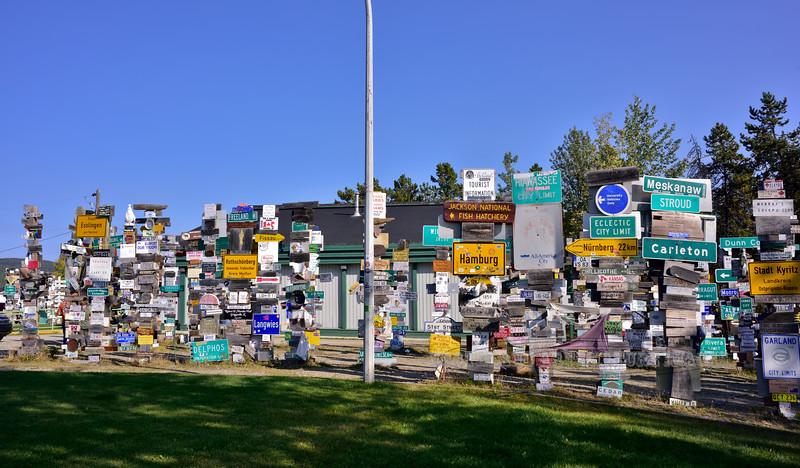 CANYK-WLsp-2017.9.5#128.2. The famous Watson Lake Sign Posts. Watson Lake, mile post 635. Yukon Territory Canada.