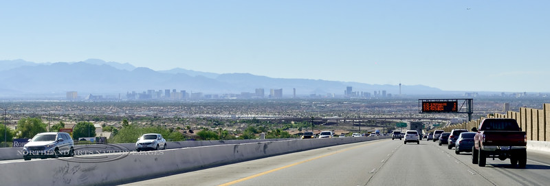 NV-2018.6.29#5253. The view of the Las Vegas skyline heading north on Route 93 Nevada.