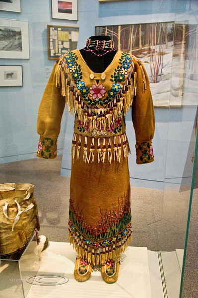 AK-MON-2008.7.1#084b2. Ceremonial dress crafted by Dixie Alexander's Grand Daughter. Dixie was a famous Gwich'in Athabascan artist from Fort Yukon. She must have been extremely proud of this work. Museum of the North, Fairbanks Alaska.