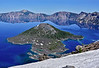 OR-2021.6.19#8391.3. The famous cinder cone Wizard Island in Crater Lake. Crater Lake Nat. Park, Oregon.