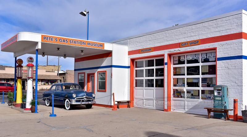 AZ-W-2018.6.6#417.2. Pete's Gas Station Museum featuring a 1950 four door Ford. Old Route 66, Main St., Williams Arizona.