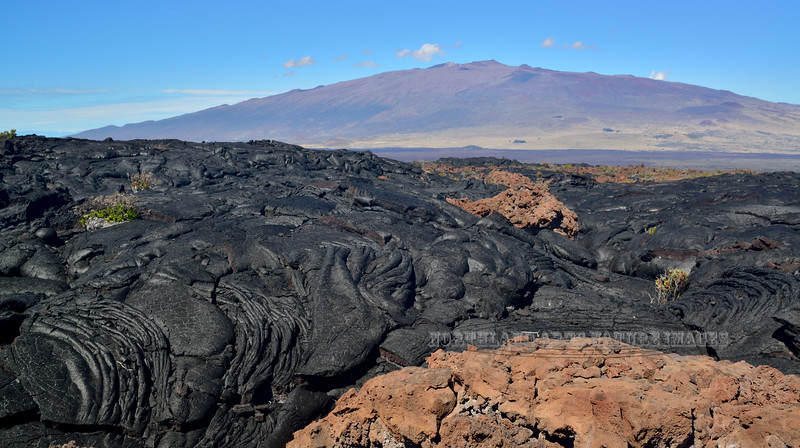 HI-2015.2.2#001. Looking from A lava flow on Mauna Loa across to Mauna Kea. The Big Island Hawaii.