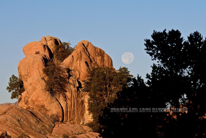 AZ-2018.1.24#028. A Super Full Moon setting in the Dells, Prescott Arizona.