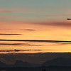 Boeing 747 Dream Lifter at sunrise over Cascade Mts.