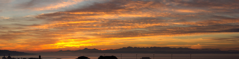 Panorama sunset from above Everett Marina.