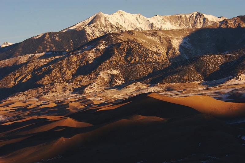 Sand dunes and Sangre de Cristos, Great Sand Dunes National Park, CO