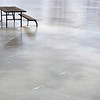 Picnic table encased in ice from flooding in Grand Rapids, MI.