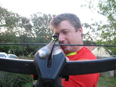 Ian aiming.