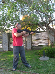 Practice shooting in the garden, making sure nobody sees us with the weapons - might give the wrong impression!