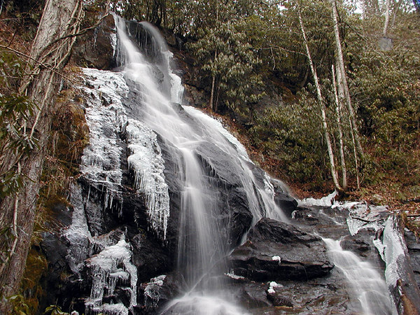 The Waterfall on Indian Camp Branch, NC.<br /> This was a 40 ft. drop at the head of the holler.