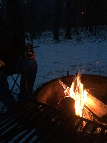Almost too cold for it, but not too good: enjoying a Summit Unchained Series Dark Infusión with our campfire at about 5 degrees F.