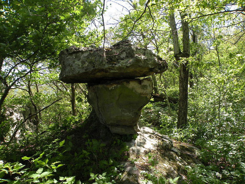 Intersting rock form poised beside the Cumberland Trail along Brady Mtn.<br /> TN