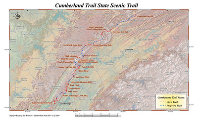 Here is a map I found online of the Cumberland Trail. It is the first of its kind... a linear State Park!  I have hiked sections of it as it has been completed and found it to be a fantastic place to hike.